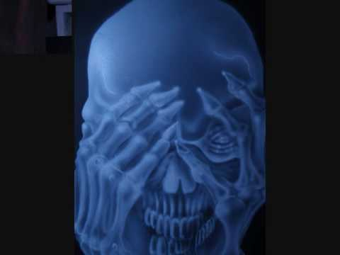 airbrush toxic green  skull.wmv