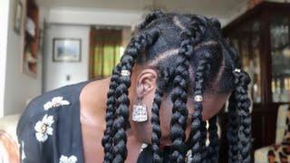 getlinkyoutube.com-Jumbo Box Braids on 4c Natural Hair: Rubber Band Technique!