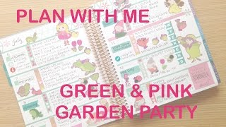 getlinkyoutube.com-PLAN WITH ME | ERIN CONDREN HORIZONTAL | Green & Pink Garden Party