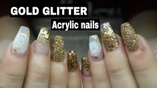 getlinkyoutube.com-COFFIN SHAPED ACRYLIC NAILS WITH GOLD GLITTER AND 3D ENCAPSULATED ROSE