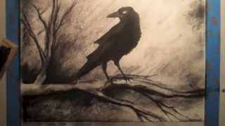getlinkyoutube.com-How To Draw A Crow on a Tree Branch - Tutorial
