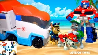 getlinkyoutube.com-Pup Rescues and Advenutres!!! Play Doh Paw Patrol, Patroller, Transformers Rescue Bots, Minions