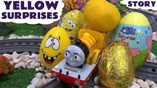getlinkyoutube.com-Learn Colors - Yellow - Play Doh Surprise Eggs Cars Minions Peppa Pig Spongebob Thomas and Friends