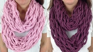 getlinkyoutube.com-30 Minute Arm Knit Infinity Scarf Cowl with Lion Brand Wool Ease - Left Handed