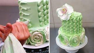 getlinkyoutube.com-Swirl Roses and Petal Buttercream Cake How To Make by CakesStepByStep