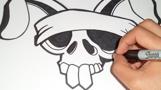 cómo dibujar un craneo de conejo Graffiti