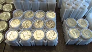 getlinkyoutube.com-Full Silver Stack 635+ oz. Junk Silver, American Silver Eagle, Bars, World Coins