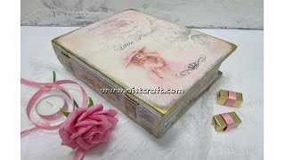 getlinkyoutube.com-Decoupage tutorial - DIY.  How to decorate a book treasure box. Vintage style.