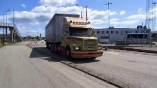 Scania T143 M 500 Peter E Nielsen in Ystad Harbour