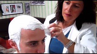 getlinkyoutube.com-Old school Barber Girl - Head shave with massage and hot towel - ASMR sounds