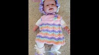 getlinkyoutube.com-Crochet Quick Easy Beginner Rainbow Ripple Dreams Baby Dress DIY Tutorial