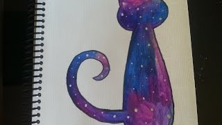 getlinkyoutube.com-Como dibujar/pintar galaxia en un gato - Dibujando