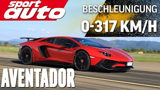 getlinkyoutube.com-Lambo Aventador LP 750-4 SV 0-300 km/h-0 Highspeed Braking