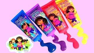 getlinkyoutube.com-Bombas de Banho Dora a Aventureira - Learn Colors with Kids Bath Paint Dora the Explorer Bath Bombs