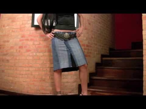 Jeans To Knee Length Denim Skirt