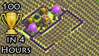 """getlinkyoutube.com-Clash of Clans """"Trap Arena TROLL BASE"""" + 100 Cups Won in 4 Hours COC Funny Moments Defense Replays"""
