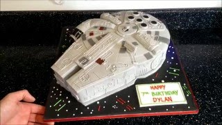 getlinkyoutube.com-Millennium Falcon cake with lights, Time lapse