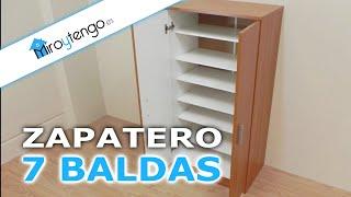 getlinkyoutube.com-Zapatero armario economico y de gran capacidad, 7 baldas en color castaño, blanco o wengue.