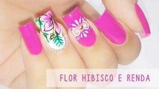 getlinkyoutube.com-Unhas Decoradas com Flor Hibisco e Renda