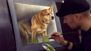 getlinkyoutube.com-Trick Art 3D Painting of a Dog from photo /Speed Drawing