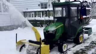 John Deere 1025R Snow blower test with the new steel Fan and heater test