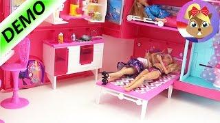 getlinkyoutube.com-Barbie Camper voor vier Barbies met zwembad en keuken Demo