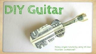 getlinkyoutube.com-DIY How to Fold Money Origami Guitar - $1 One Dollar Guitar - Paper Guitar Paper Crafts