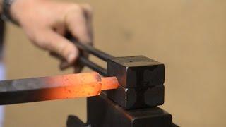 Blacksmithing - Using a spring swage. Forging tenons
