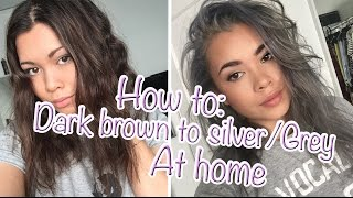 getlinkyoutube.com-❤ HOW TO: Go from Dark brown to Silver/Grey hair at home ❤