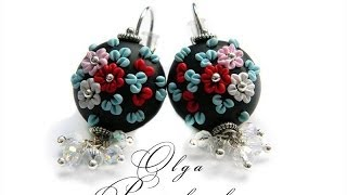 getlinkyoutube.com-Серьги из полимерной глины. Цветочная филигрань. Earrings made of polymer clay. Floral filigree.