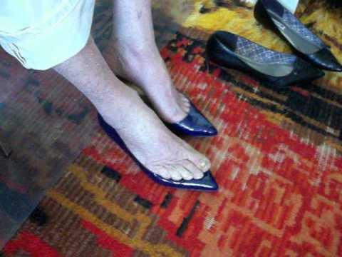 my toe cleavage blue JCrew flats 21Feb12a.mov