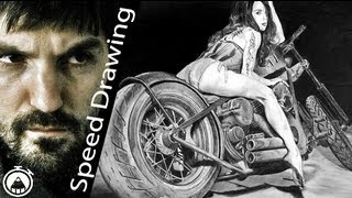 How to draw a sexy girl riding motorbike - Speed Drawing Italia