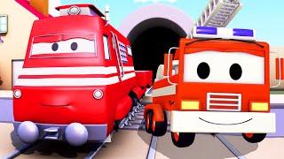 getlinkyoutube.com-Troy o Trem e o Caminhão de Bombeiro na Cidade do Carro | desenhos animados para crianças