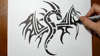 getlinkyoutube.com-How to Draw a Tribal Dragon Tattoo Design - Sketch 3