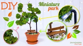 getlinkyoutube.com-DIY Miniature Park In A Flower Pot – How To Make Miniature Tree, Street Light, Bench