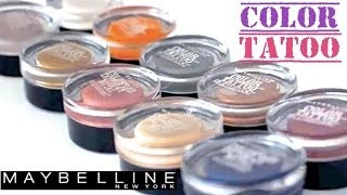 getlinkyoutube.com-Maybelline Color Tattoo 10 colors Swatches