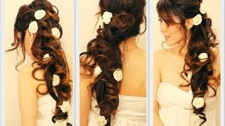 getlinkyoutube.com-★ ELEGANT SIDE-SWEPT CURLS WEDDING PROM HAIRSTYLES TUTORIAL | CURLY BRIDAL UPDO FOR LONG HAIR