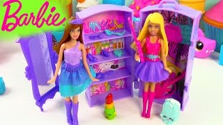 getlinkyoutube.com-Barbie Doll The Princess and The Popstar Mini Playset Guitar Band Wardrobe Review