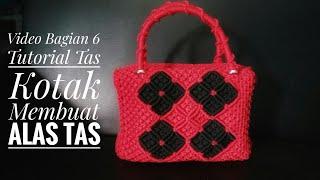 tas tali kur terbaru, Tutorial membuat tas kotak motif daun semanggi  Bagian 6 membuat alasnya