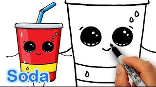 getlinkyoutube.com-How to Draw Cute Cartoon Soda Cup Drink Step by Step