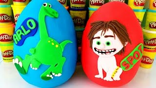 Disney Pixar's THE GOOD DINOSAUR Arlo & Spot Play Doh Surprise Eggs! | Dino Eggs Hatch | Blind Bags