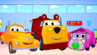 Tom The Tow Truck's Paint Shop: Baby Amber-Masha and Ethan the Bear 👶🐻 Truck cartoons for kids