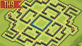 getlinkyoutube.com-Clash of Clans - EPIC Townhall 9 Labyrinth Farming BASE! w/ Air Sweeper!