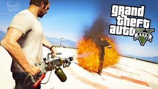 GTA 5 Weapon Mods #3 - Flamethrower, Crossbow, Blaster, Paintball Gun, Lightsaber and Pokeball