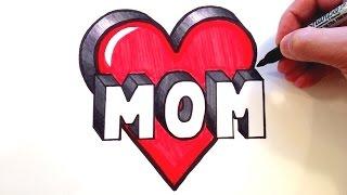 getlinkyoutube.com-How to Draw MOM in a HEART 3D!!!