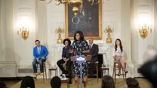 """getlinkyoutube.com-The First Lady Delivers Remarks at """"Hamilton at the White House"""" Workshop"""