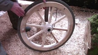 getlinkyoutube.com-How To Make Wooden Wheels With Bicycle Rims And Tyres