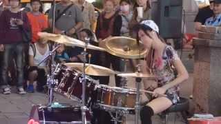 getlinkyoutube.com-싸이 강남스타일 드럼연주하는 예쁜소녀 Gangnam style. I play drum a pretty girl  江南风格的漂亮的架子鼓演奏少女