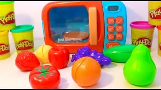 getlinkyoutube.com-Food Cooking Microwave Just Like Home Toy Appliances Surprise Toys Video for Kids Velcro Fruits