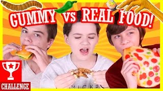 GUMMY vs REAL FOOD CHALLENGE! | HOT PEPPERS! WORMS! GROSS!   |  KITTIESMAMA